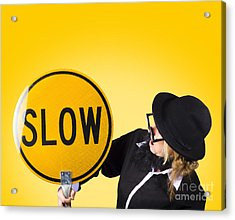 Man Holding Slow Sign During Adverse Conditions Acrylic Print by Jorgo Photography - Wall Art Gallery