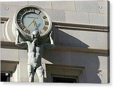 Man Holding Up Time Acrylic Print