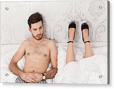 Man In Bed Wondering About The Lying Position Of His Girlfriend Acrylic Print by Wolfgang Steiner
