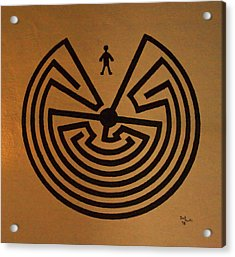 Acrylic Print featuring the photograph Man In Maze by Tom Singleton