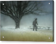 Man In Nature - Winter Acrylic Print by Shenshen Dou