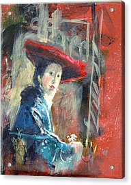 Acrylic Print featuring the painting Man In Red Hat After Vermeer by Gertrude Palmer