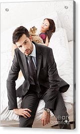 Man In Suit Sitting In Bed With His Wife And A Cat Acrylic Print by Wolfgang Steiner