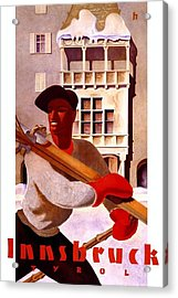 Man In Winter Clothes Carrying Skis - Innsbruck Austria - Vintage Travel Poster Acrylic Print