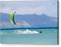 Man Kiteboarding In Turquoise Water Acrylic Print by Mark Cosslett