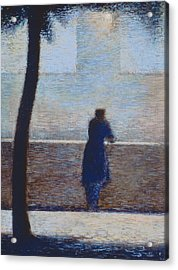 Man Leaning On A Parapet Acrylic Print by Georges Pierre Seurat