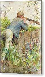 Acrylic Print featuring the painting Man Looking Through A Telescope by Henry Scott Tuke
