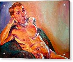 Man Nude Acrylic Print by Britta Loucas