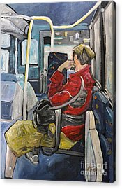 Man On 107 Bus Verdun Acrylic Print by Reb Frost