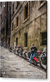 Man On A Scooter Siena-style Acrylic Print