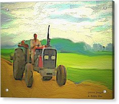 Man On A Tractor Acrylic Print