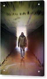 Man On A Tunnel Acrylic Print