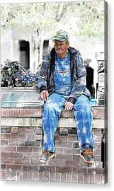 Man On A Wall Acrylic Print by John Haldane