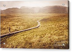 Man On Expedition Along Cradle Mountain Boardwalk Acrylic Print by Jorgo Photography - Wall Art Gallery