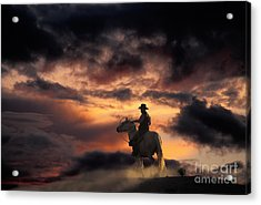 Man On Horseback Acrylic Print by Ron Sanford and Photo Researchers