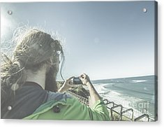 Man Photographing Angelsea On The Great Ocean Road Acrylic Print