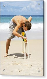 Man Playing Beach Cricket Acrylic Print