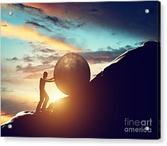 Man Rolling Huge Concrete Ball Up Hill Acrylic Print