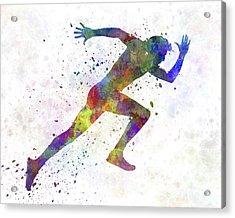 Man Running Sprinting Jogging Acrylic Print