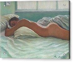 Man Sleeping In Morning Light Acrylic Print by Pat Kelley