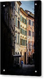 Man Walking Alone In Small Street In Siena, Tuscany, Italy Acrylic Print