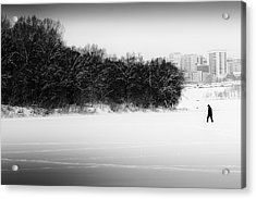 The Walker And The Snow Acrylic Print