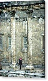 Man Walking Between Columns At The Roman Theatre Acrylic Print by Sami Sarkis