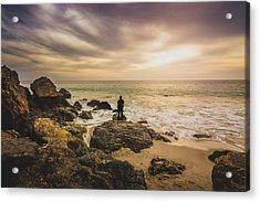 Man Watching Sunset In Malibu Acrylic Print
