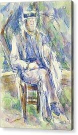 Man Wearing A Straw Hat Acrylic Print by Paul Cezanne