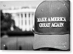 man wearing red make america great again outside the trump white house Washington DC USA Acrylic Print