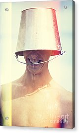 Man Wearing Water Bucket On Head In Summer Heat Acrylic Print by Jorgo Photography - Wall Art Gallery