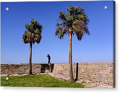 Man With A Hat On The Wall With Palm Trees In Saint Augustine Fl Acrylic Print
