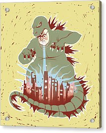 Man With Dragon Costume Destroying City Acrylic Print