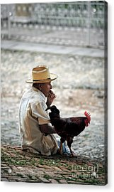 Man With Rooster - Trinidad - Cuba  Acrylic Print