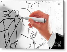 Man Writing Complex Math Formulas On Whiteboard. Mathematics And Science Acrylic Print by Michal Bednarek