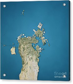 Manama Topographic Map Natural Color Top View Acrylic Print