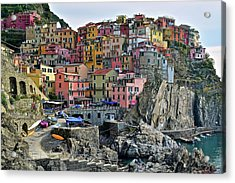 Acrylic Print featuring the photograph Manarola Cinque Terre Italy by Frozen in Time Fine Art Photography