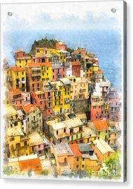 Manarola Italy Cinque Terre Watercolor Acrylic Print by Edward Fielding