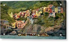 Acrylic Print featuring the painting Manarola by Jeff Kolker