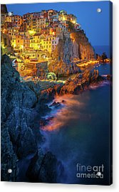 Manarola Lights Acrylic Print by Inge Johnsson