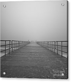 Manatee Beach Pier In Fog Infrared 39 Acrylic Print by Rolf Bertram
