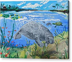 manatee in the Lagoon Acrylic Print by Renate Pampel
