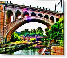Manayunk Canal And Bridge Acrylic Print by Bill Cannon