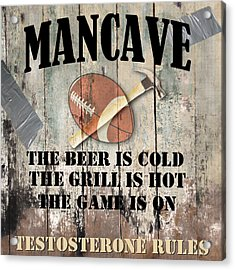 Mancave Football Acrylic Print by Mindy Sommers