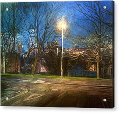 Manchester Street With Light And Trees Acrylic Print