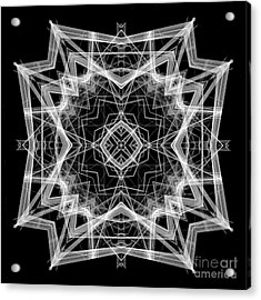 Acrylic Print featuring the digital art Mandala 3354b In Black And White by Rafael Salazar