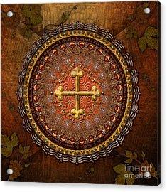 Mandala Armenian Cross Acrylic Print by Bedros Awak