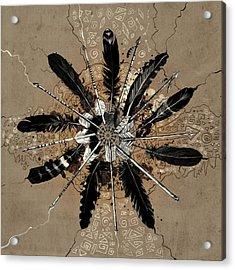 Mandala Arrow Feathers Acrylic Print
