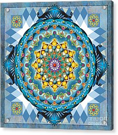 Mandala Blue Crown Acrylic Print by Bedros Awak