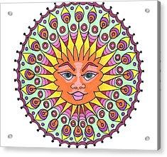 Peacock Sunburst Acrylic Print